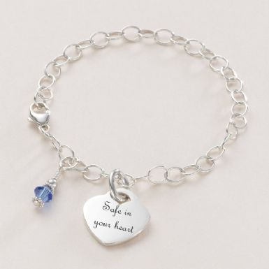 Birthstone and Engraved Heart Memorial Bracelet | Someone Remembered